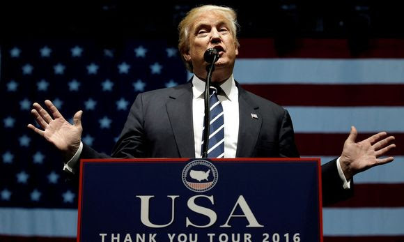 U.S. President-elect Donald Trump speaks at a 'Thank You USA' tour rally in Grand Rapids