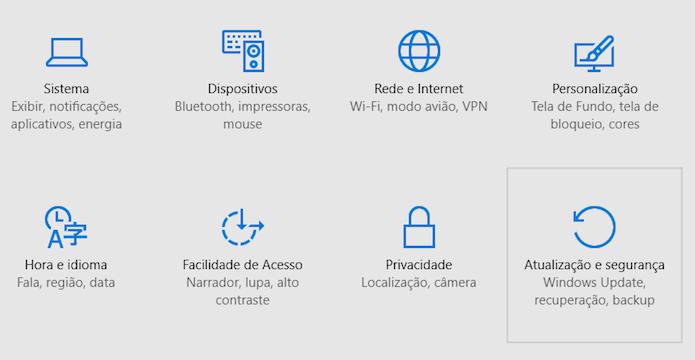 Abra as configurações de atualização e segurança (Foto: Reprodução/Helito Bijora)