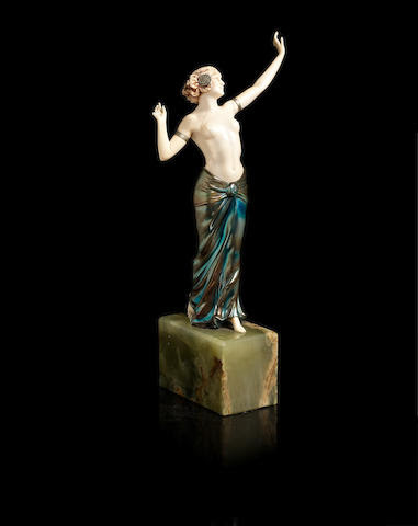 Ferdinand Preiss (German, 1892-1943) 'Salome Dancing' a Cold-Painted Bronze and Carved Ivory Figure, circa 1920