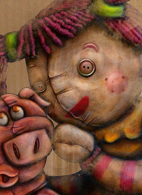 Ilustración La ciudad de los muñecos por Hache Holguín