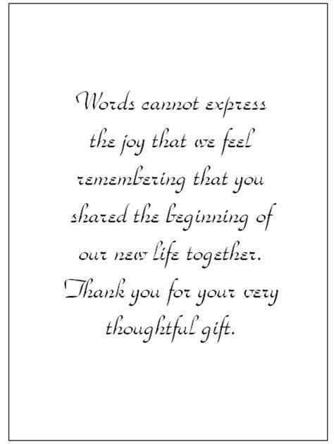 Wedding Thank You Note Wording   thank you card templates