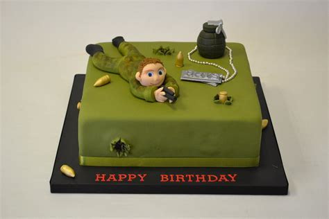 Army Cake with Model of Soldier   Boys Birthday Cakes