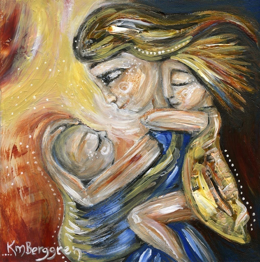 Mid-Summer Day - Archival 12x12 signed motherhood print from an original painting by Katie m. Berggren