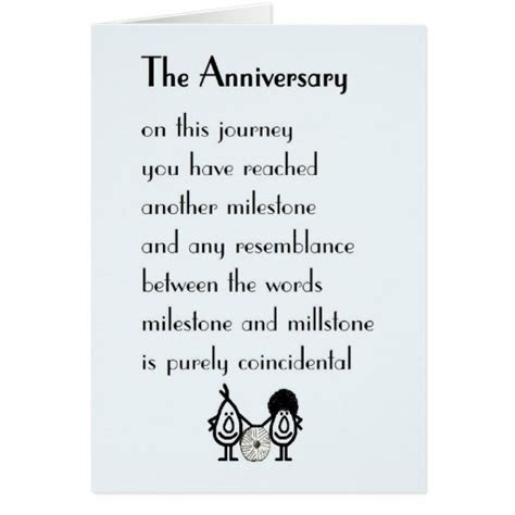 The Anniversary   a funny wedding anniversary poem Card