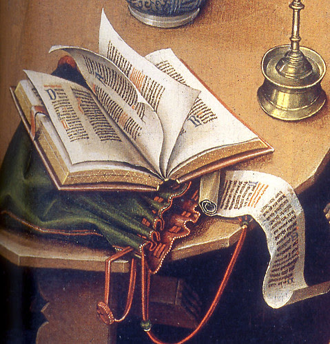 Detail of book from the Merode altarpiece