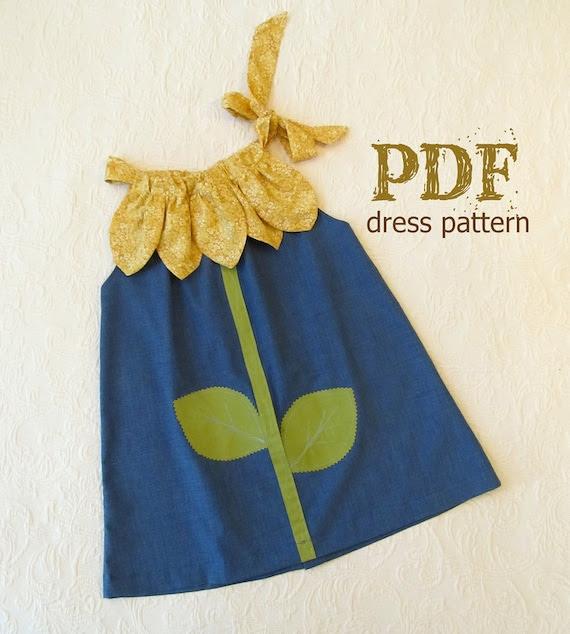 NEW Sunny Flower Pillowcase Dress PDF Pattern Tutorial Easy Sew Sizes 12m thru 10 included