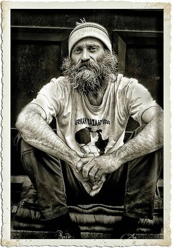 Homeless man in Richmond, Surrey.