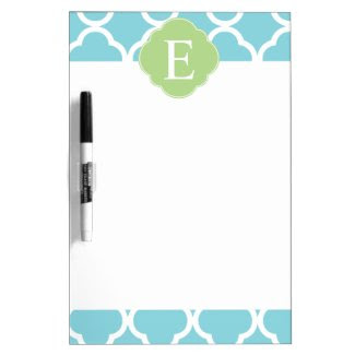 Blue Green Quatrefoil Monogram Dry-Erase Whiteboard