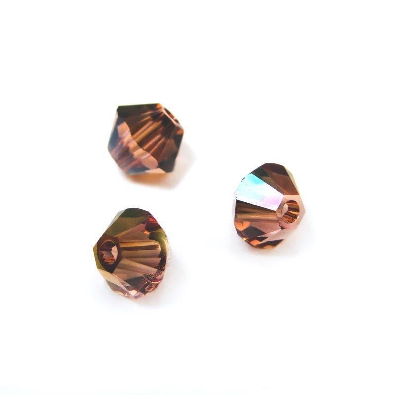 2775301s41258 Swarovski Bead - 4 mm Faceted Xilion Bicone (5328) - Light Rose Mahogany (36)