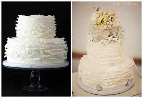 Ivory Ruffles Wedding Cake with Bling   Rose Bakes