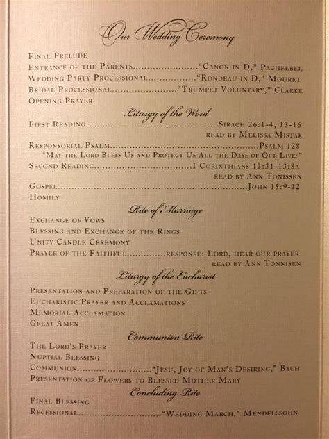 Catholic Wedding Order Of Service Template Example