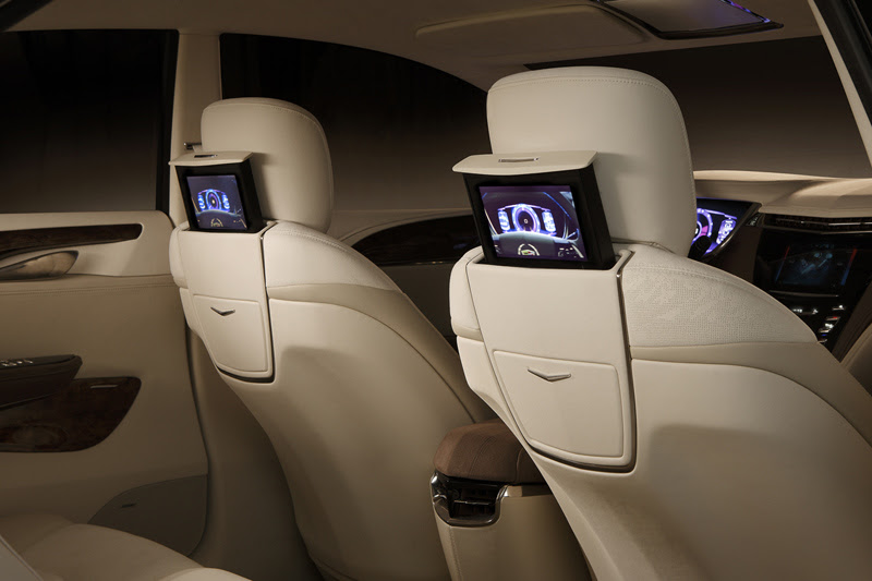 Cadillac XTS Platinum concept rear seats and TV screens