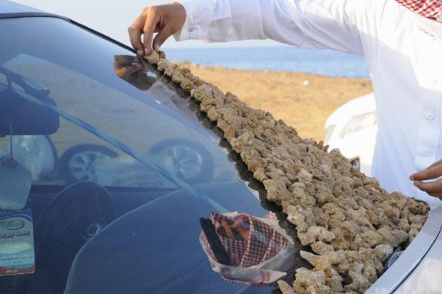 Jovem coloca pedra sobre para-brisa de carro, a nova moda na Arábia Saudita (Foto: Mohamed Al Hwaity/Reuters)