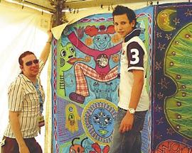 Helpful assistance hanging art in Nuremburg
