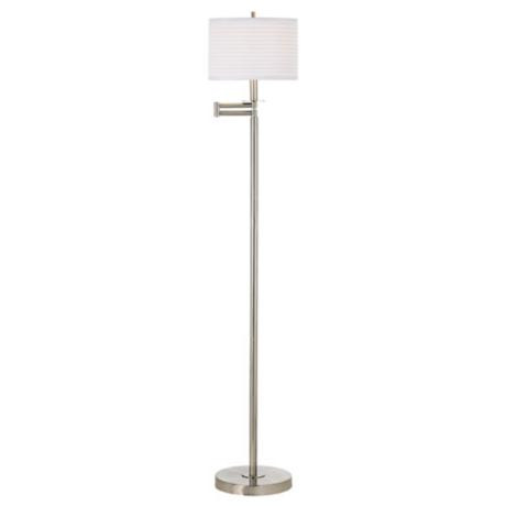 Brushed Nickel with White Drum Shade Swing Arm Floor Lamp - #42316 ...