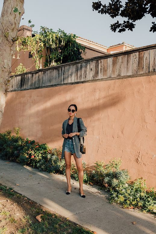 Le Fashion Blog Aimee Song Oversized Sunglasses Plaid Blazer Purple T Shirt Denim Shorts Slingback Pumps Via Song Of Style