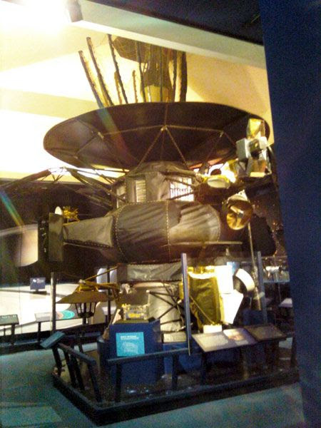 A life-size Galileo spacecraft replica...inside an exhibit room right next door to the von Kármán Auditorium.