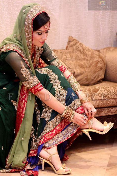 Pakistani Bride Light and dark green combination   Wedding