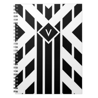 Black Quadrilateral Stripes on White with Monogram Spiral Note Books