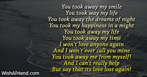 You Took Away My Sad Love Poem For Him
