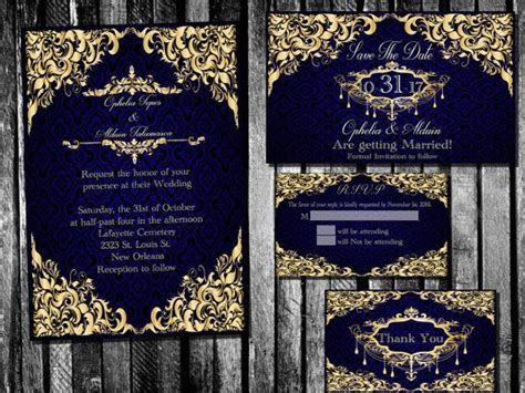 Elegant Royal Blue and Gold Wedding Invitation, Save the