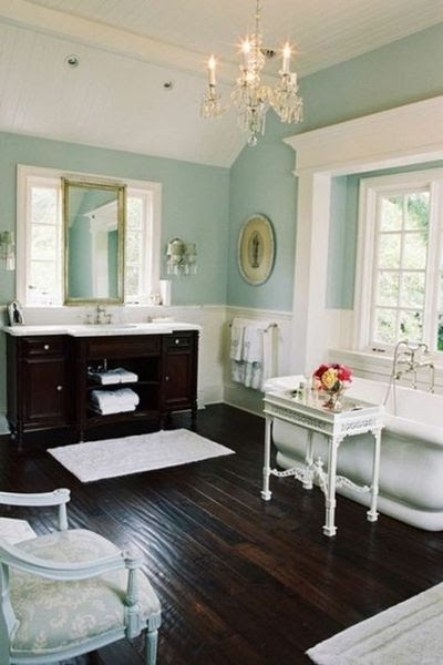 Blue, White, and Dark Brown Bathroom / bath ideas - Juxtapost