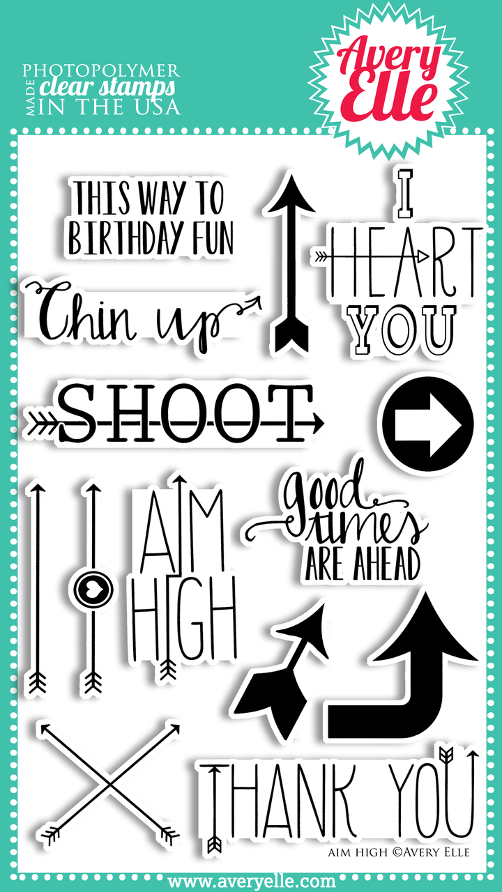 """We love our 4"""" x 6"""" Aim High clear photopolymer stamp set.  The sentiments and trendy arrows in this set are fun, fresh and perfect for so many occasions.  Use them with the coordinating Aim High Elle-ments Dies to create professional results."""