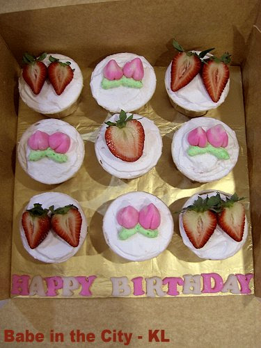 Strawberry White Chocolate Cupcakes - Dad & Koo Mah birthday