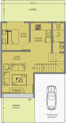 Leela Greens B Type 3 BHK Row House Ground Floor