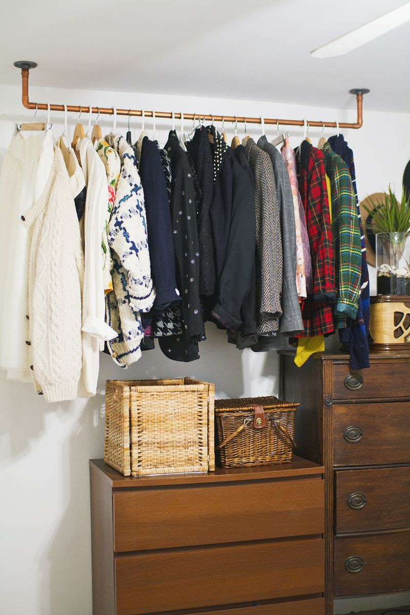 Clothes Bar For Closet - Image of Bathroom and Closet