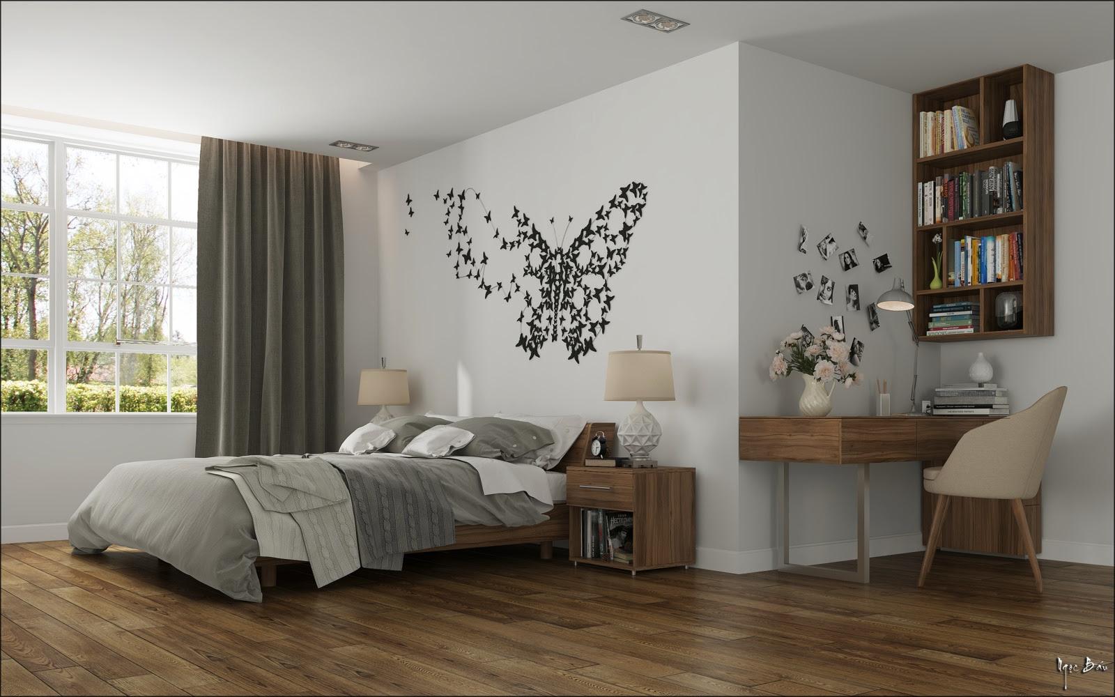 bedroom  butterfly wall  art Interior Design  Ideas