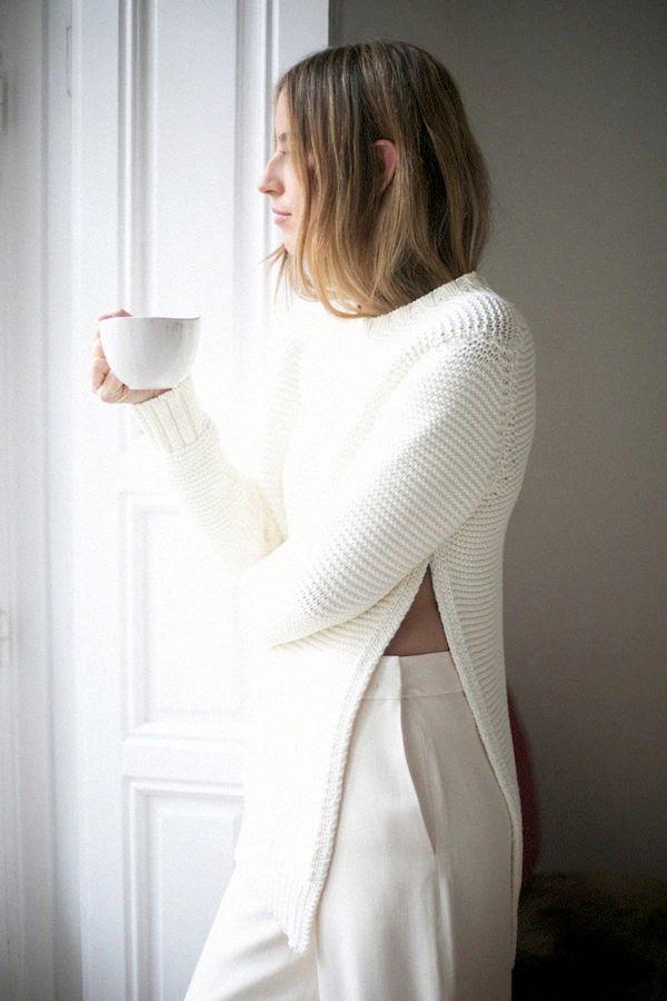 Le Fashion Blog All White Fall Style Side Split Sweater High Waist Pants Trousers Via Vogue Spain