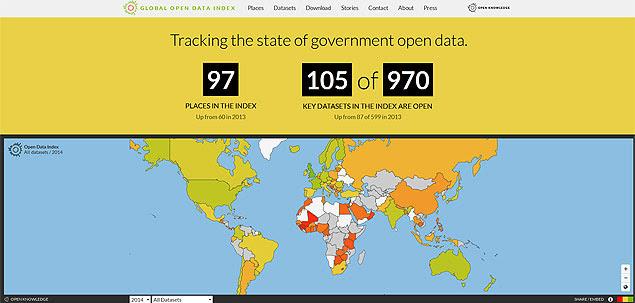 Mapa do mundo ilustra o nível de transparência de dados