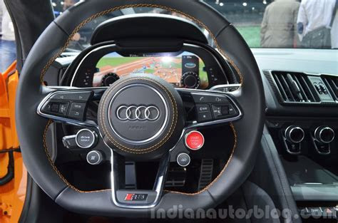 2016 Audi R8 V10 Plus steering wheel at 2015 Geneva Motor Show   Indian Autos blog