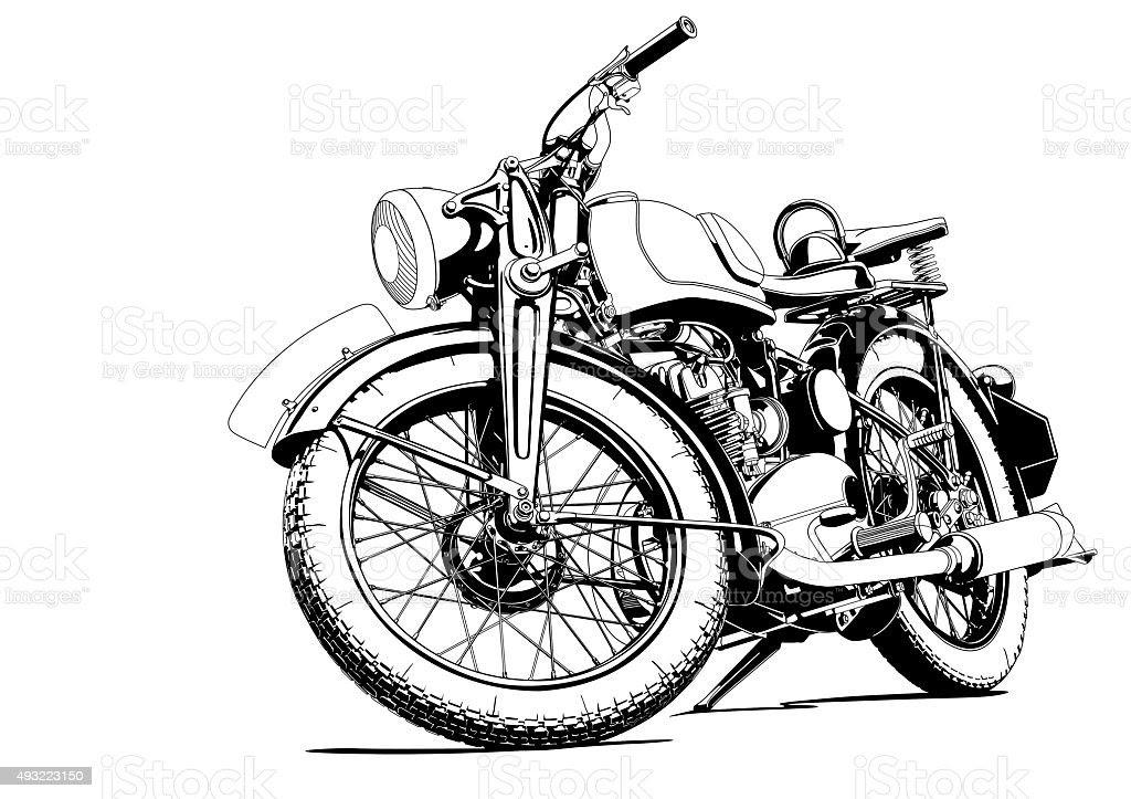 Motorcycle Old Illus