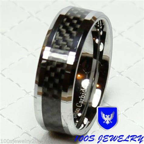 Tungsten Carbide Ring 8mm Black Carbon Fiber Men's Wedding