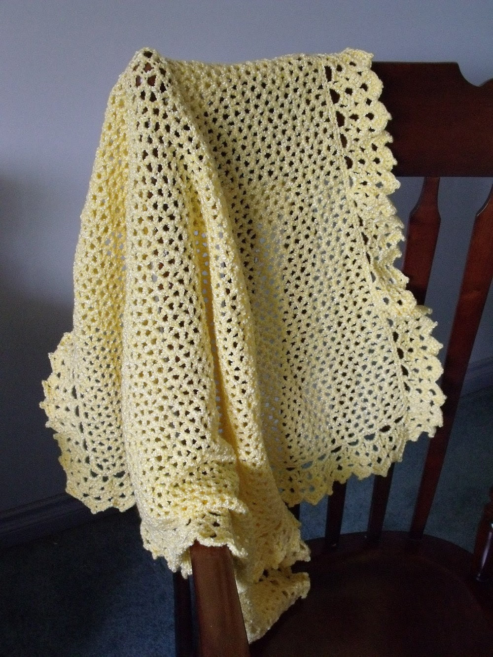 Bordered in Lace Baby Blanket