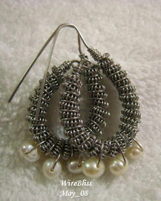 wire wrapped coiled earrings