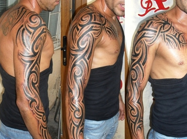 Red And Black Tribal Half Sleeve Tattoo For Men