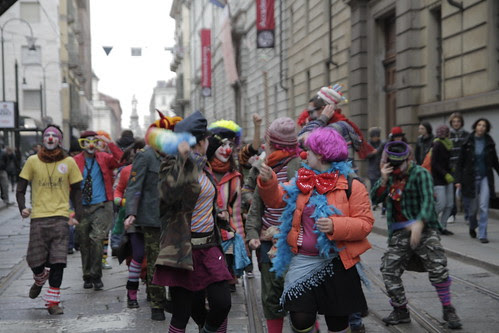 Clowns protesting