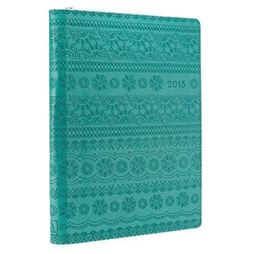2015 Turquoise 18 Month Zippered Inspirational Daily Planner ...