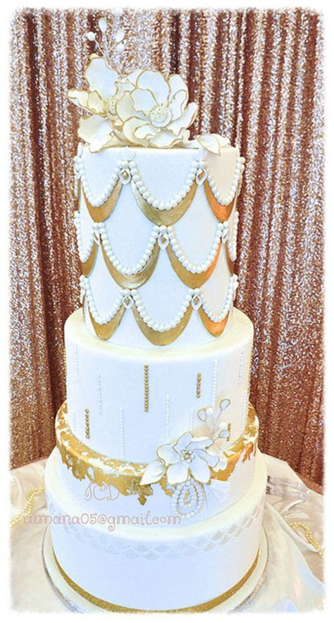 White And Gold Wedding Cake   CakeCentral.com