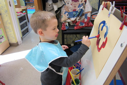 concentrating on his art