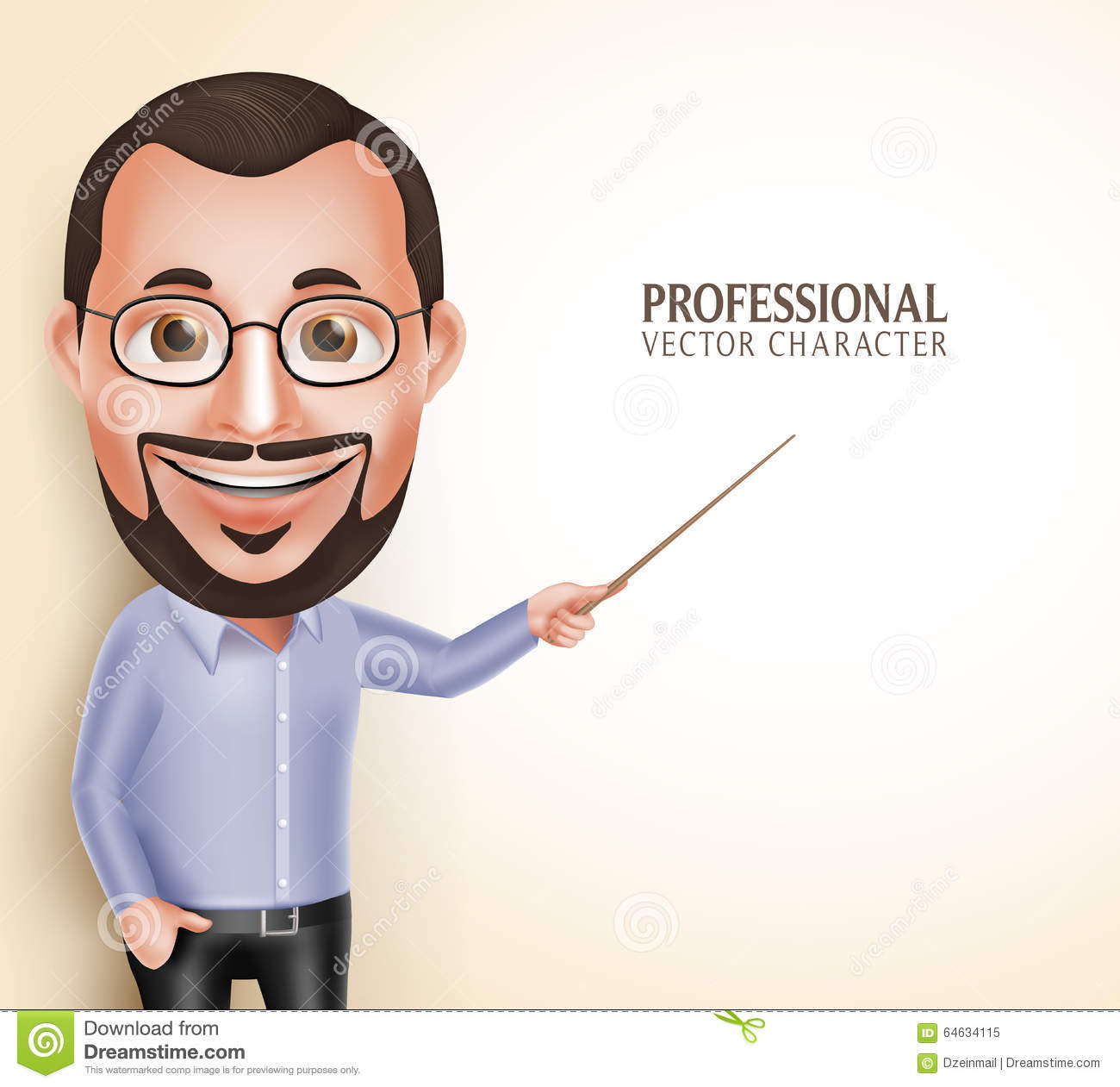 old professor teacher man vector character speaking pointing blank space d realistic professional message white background 64634115