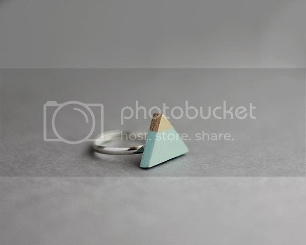 Wooden Gold Dipped Triangle Ring