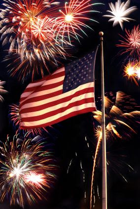 fireworks and Old Glory