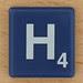 Scrabble White Letter on Blue H