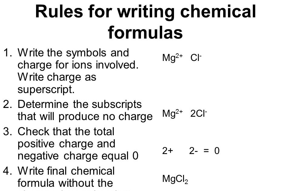 how to write chemical formulas  slideshare