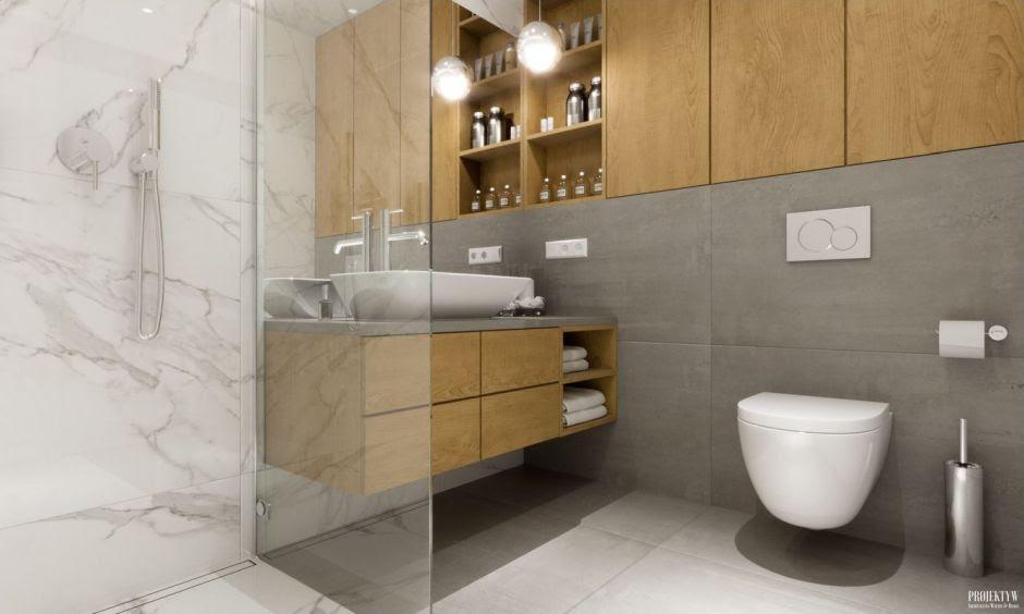 Łazienka w stylu nowoczesnym - galeria - Marmur i drewno w ...