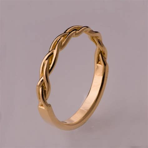 braided ring   gold stackable ring wedding band